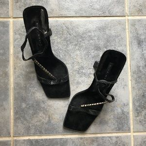 Nine West Square Toe Chunky Sandals 8
